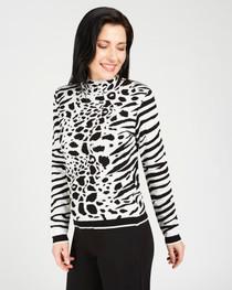 Snow Leopard Mock Neck Sweater