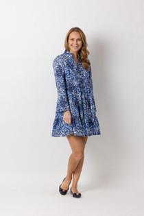 Long Sleeve Tunic Dress- Blue Floral Print