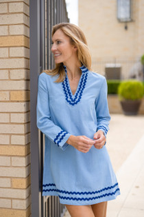 Long Sleeve A-Line Tunic Dress- Chambray