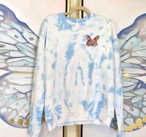 Butterfly Blue Sweatshirt- Blue Pastel