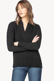 Shawl Collar Tunic Sweater- Black
