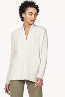 Shawl Collar Tunic Sweater- Coconut