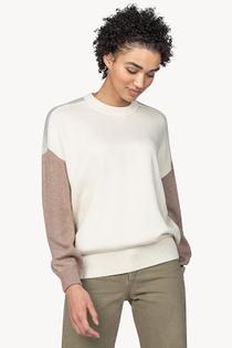 Oversized Sweatshirt Sweater- Ivory Colorblock