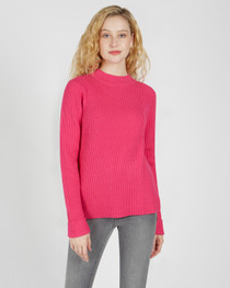 Molly Mock Neck Sweater- Hot Pink