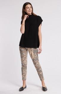 Cashmere Funnel Cap Sleeve Sweater- Black