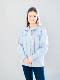 Rosie Ruffle Top- Oxford Blue