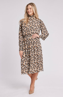 Kelly Paw Print Midi Dress- Multi