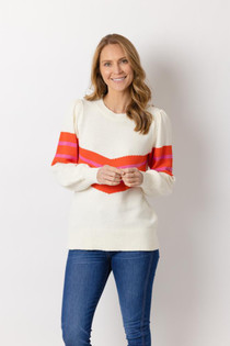 Long Sleeve Inverted Strip Sweater- Ivory