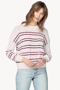 Striped Cable Pullover Sweater- Ivory