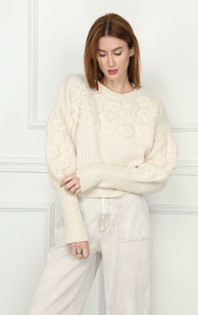 Hand Embroidered Floral Sweater- Ivory