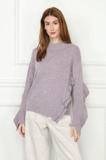 Ruffle Sweater- Heather Lavender