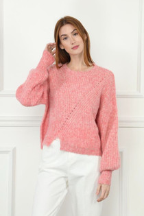 Puffy Sleeve Sweater- Coral