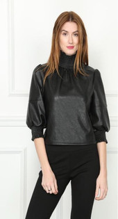 Faux Leather Top- Black