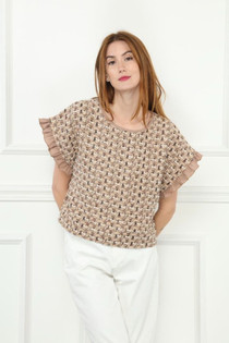 Tweed Knit Top- Taupe Combo