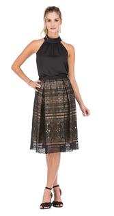 Lace Pleated Skirt- Black/Nude