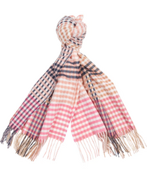 Bryony Check Scarf- Pink/Hessian