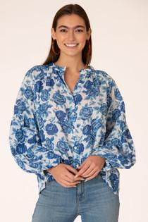 Emory Blouse- True Blue Tonal Roses