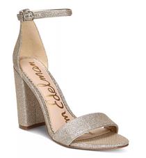Yaro Block Heel Sandal- Light Gold Mesh