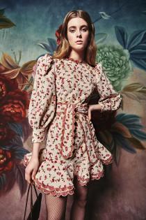 Alder Dress- Ivory Floral Corduroy