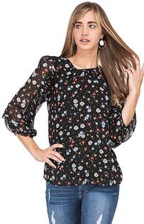 Pleat Sleeve Top- Black Floral