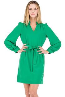 Sharon Split Neck Dress- Green