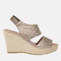 Reese Embossed Leather Espadrille Wedge- Platino Croc