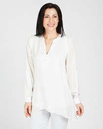 Carrie Button Front Air Flow Top- Creme