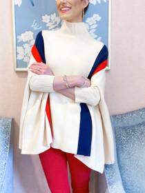 Red & Blue Stripe Poncho Sweater