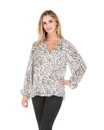Snow Cheetah Ruffle Sleeve Blouse
