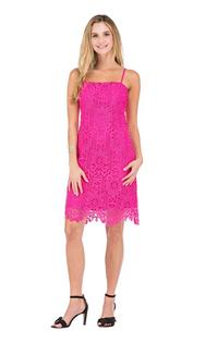 Sandy Lace Sheath Dress- Hot Pink