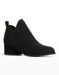 Clever Knit Slip-On Ankle Bootie- Black