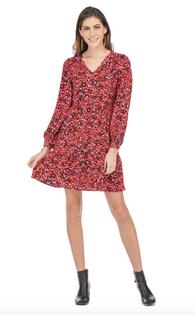 Red Leopard V-Neck Dress