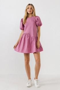 Knit Woven Mixed Dress- Dusty Mauve