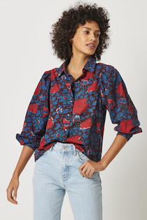 Shirred Sleeve Buttondown Top- Winter Coral Print