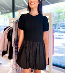 Balloon Sleeve Mini Dress- Black
