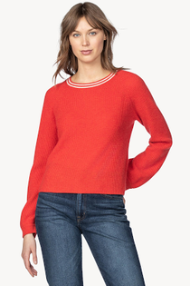 Ribbed Crewneck Sweater- Flame