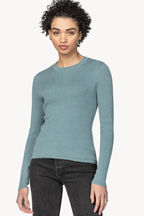 Long Sleeve Scallop Crewneck Sweater- Cascade