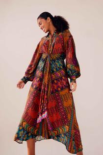 Yawanawa Stripes Midi Dress- Yawanawa Stripes