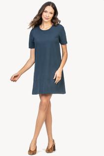 Short Sleeve A-Line Dress- Lake