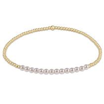 Gold Bliss 2mm Bracelet- Pearl