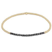 Gold Bliss 2mm Bead Bracelet- Faceted Hematite