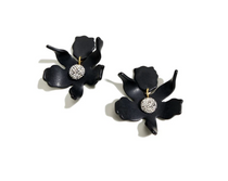 Small Crystal Lily Earrings- Jet