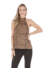 Gathered Neck Halter Top- Leopard