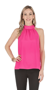 Gathered Neck Halter Top- Pink