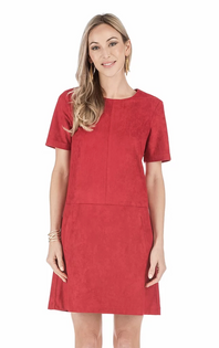 Faux Suede Short Sleeve Dress- Red
