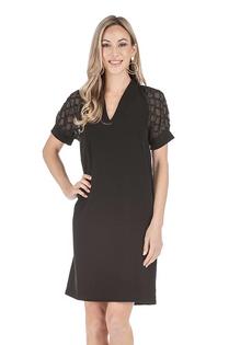 Contrast Short Sleeve Sheath Dress- Black