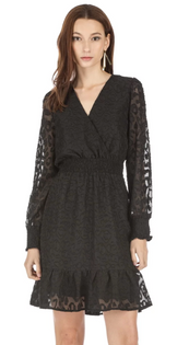 Cinched Waist Dress- Black Leopard Burnout