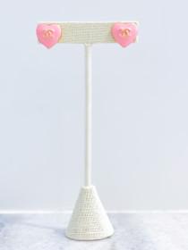 Chanel Button Earrings- Pink Heart