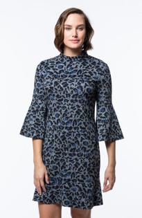 Mindy Jacquard Dress- Blue/Gray Heathered Cheetah