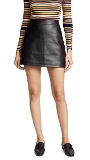 Marrie Leather Skirt- Black